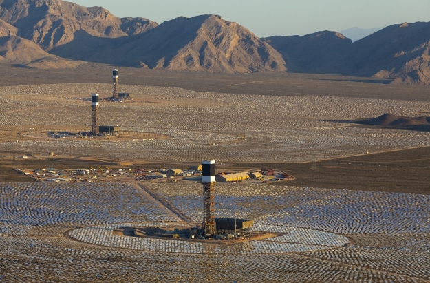 The Ivanpah concentrating solar  power plant.