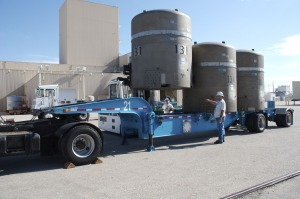 Radioactive waste casks outside the WIPP facility. Photo from DOE