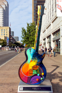 A solar-powered guitar sculpture in downtown Austin. Stay crazy, Austin. It makes sense.