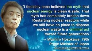Former Japanese Prime Minister Morihiro Hosokawa has joined his colleague Naoto Kan as an outspoken advocate for a nuclear-free future.