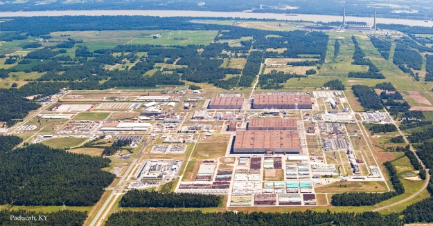 Aerial view of USEC's now-shuttered Paducah, KY uranium enrichment plant.