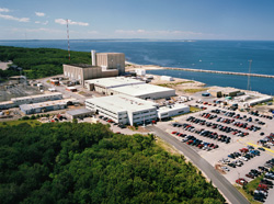 The Pilgrim reactor in Plymouth, MA is threatened by its inability to supply electricity at a competitive price. Photo, NRC.