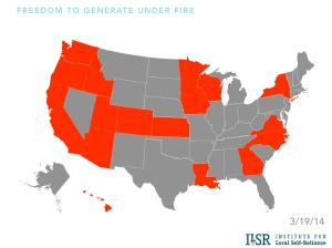 There are campaigns from right-wing groups like ALEC and many utilities in the orange states to limit rooftop solar development. Map from Institute for Local Self Reliance.