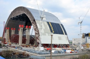 "One half of the new ""Safe Confinement"" at Chernobyl."