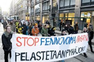 Anti-nuclear protestors in Helsinki, FInland.