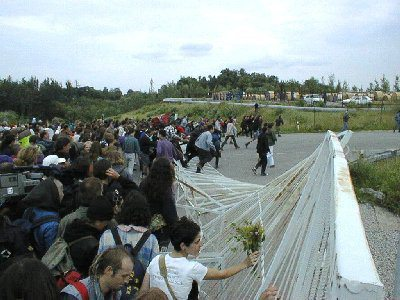 Anti-nuclear protestors crash the gates at Temelin in 1996. We came back again in greater numbers the next year.