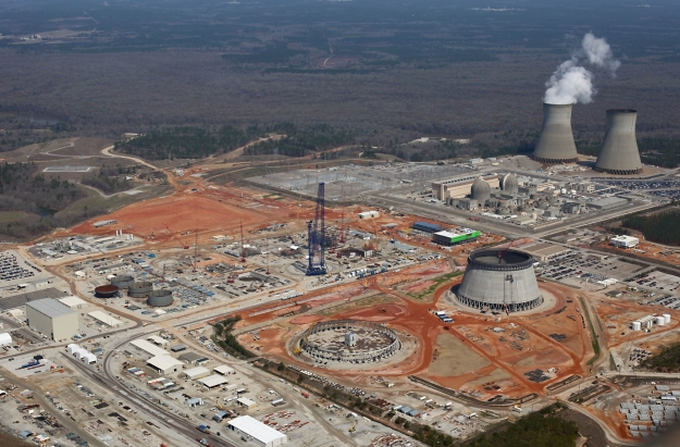 Southern Company's Vogtle site in March 2014, with two reactors under construction and two operating in the background. A lot of work remains to be done.
