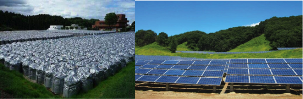 Abandoned golf courses have been put to different uses in Fukushima prefecture. ON the left, thousands of bags of radioactive waste fill one course; on the right, a golf course has become a solar energy farm.