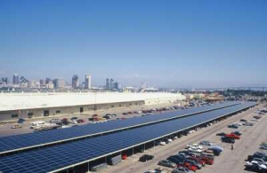 A U.S. navy solar-powered parking lot in San Diego, CA.
