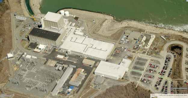 The Pilgrim reactor. Much of this site would be under water if sea levels rise as predicted. Photo by cryptome.org