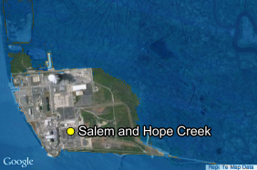 The Salem and Hope Creek nuclear site under a postulated flood in 2046.
