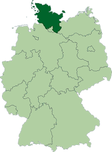 Germany: Schleswig-Holstein is the state in dark green.