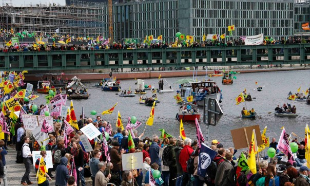 Anti-nuclear flags and banners covered May's renewable energy rally in Berlin. Can we do the same in NYC in September?