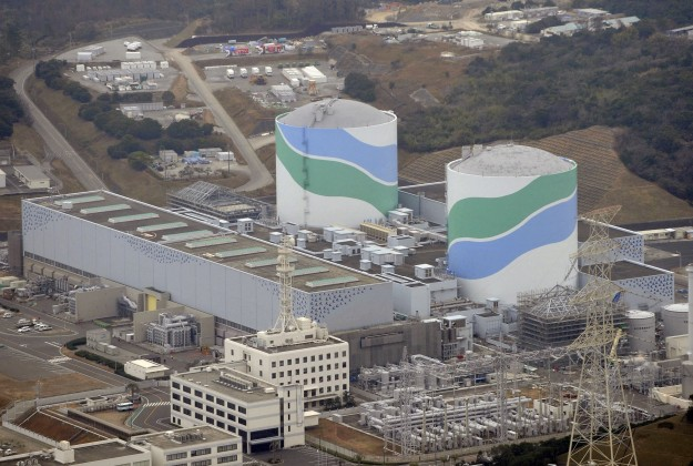 The colorful, but dangerous, Sendai reactors. Photo from Japan Times.