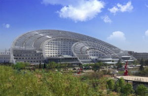 Modern design and technology in action: a solar-powered hotel in Korea.