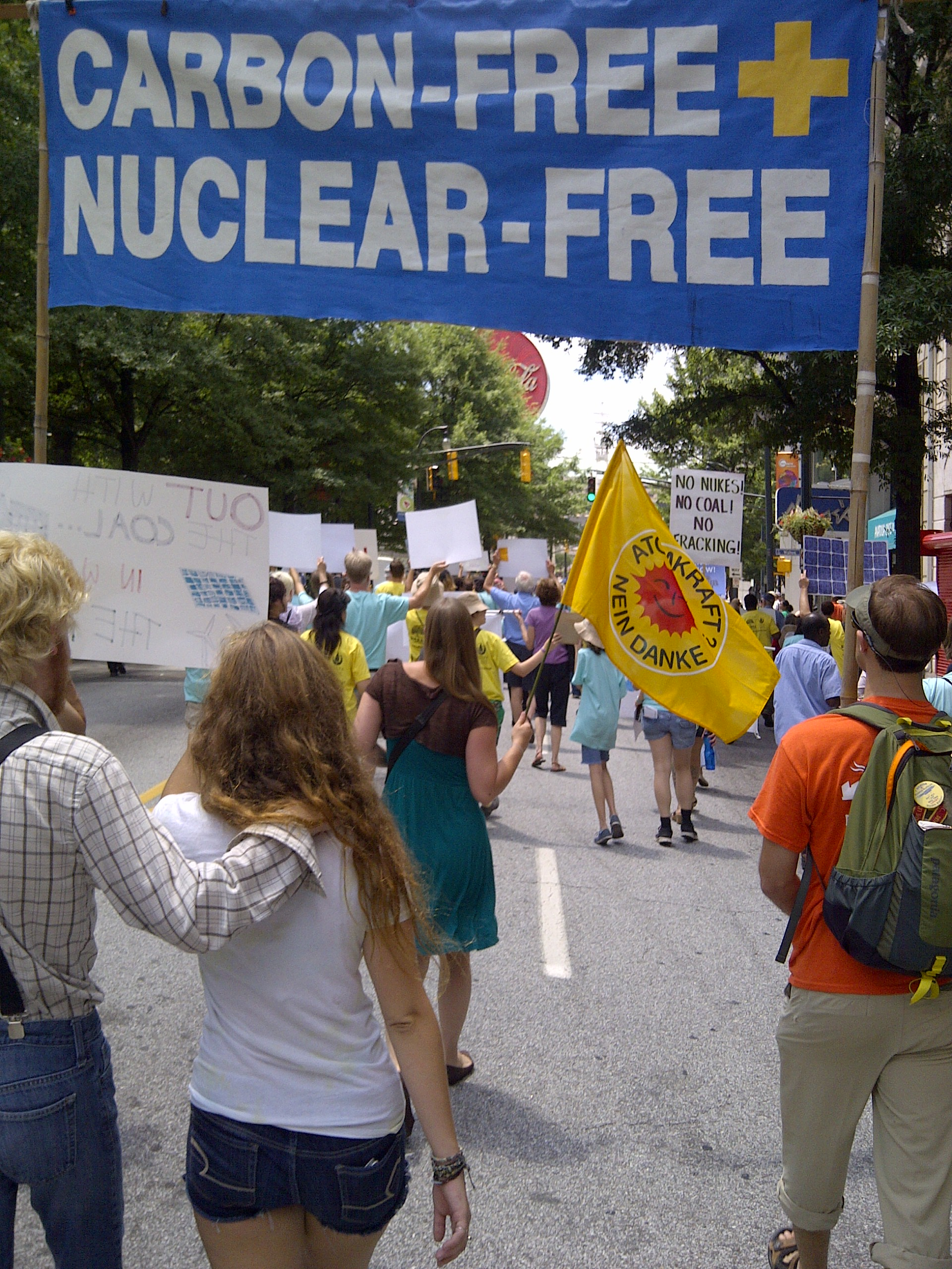 Nuclear-Free, Carbon-Free protestors at the July 29 EPA hearing on its Clean Power Plan in Atlanta.