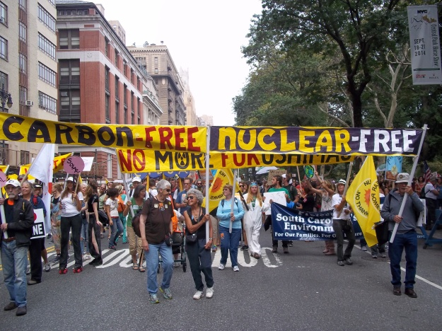 The Cape Cod portion of the Nuclear-Free, Carbon-Free Contingent preparing to march.