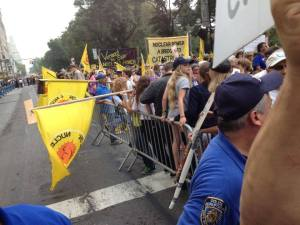 By the time the rally ended but well before the marching began, the entire city block was wall-to-wall people.