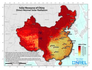 Lightly-populated central and northern China has tremendous utility-scale solar power potential, which the large cities in the Southeast have adequate rooftop solar potential.