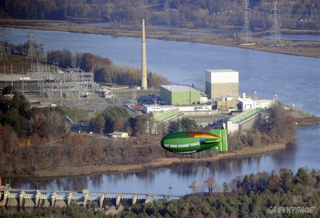 A Greenpeace blimp hovers near the Vermont Yankee reactor, now coasting toward its permanent shutdown--much to Nuclear Matters' chagrin.
