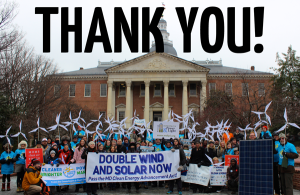 Even assaults on state Renewable Energy Standards are going down this year--solar and wind have become mainstream. In Maryland, the push is not to reduce its RPS, its to double it to 40% renewable by 2025, as this January 14, 2015 rally advocated.