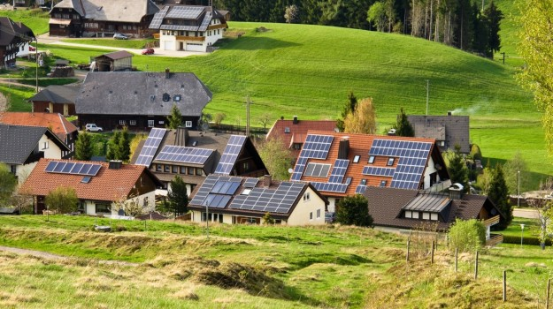 Solar power in a small village in Germany's Black Forest region.