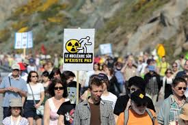 800 protested against the Flamanville reactor in 2011. Photo from Beyond Nuclear.