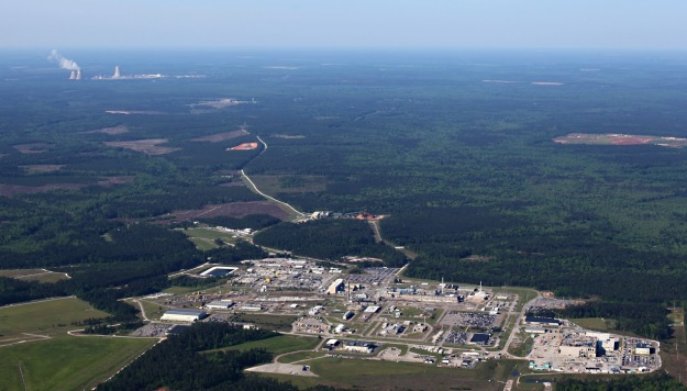 The Savannah River Site, with the unfinished MOX facility in the foreground. In the background is Georgia's Vogtle reactor complex, where two new reactors are under construction. With the likely demise of the MOX project, their power won't be needed at SRS. Photo by High Flyer, special to SRS Watch.