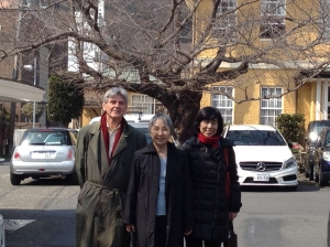 "Three of the dedicated activists working in Japan and helping with this tour. From left to right, Steve Leeper, Peace Culture Village and tour organizer; Naoko Koizumi brilliant translator (my ""bridge""); and Tamiko Nishijima of Peace Platform, our glue."
